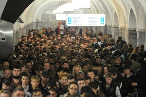 Moscow's subway during rush hour